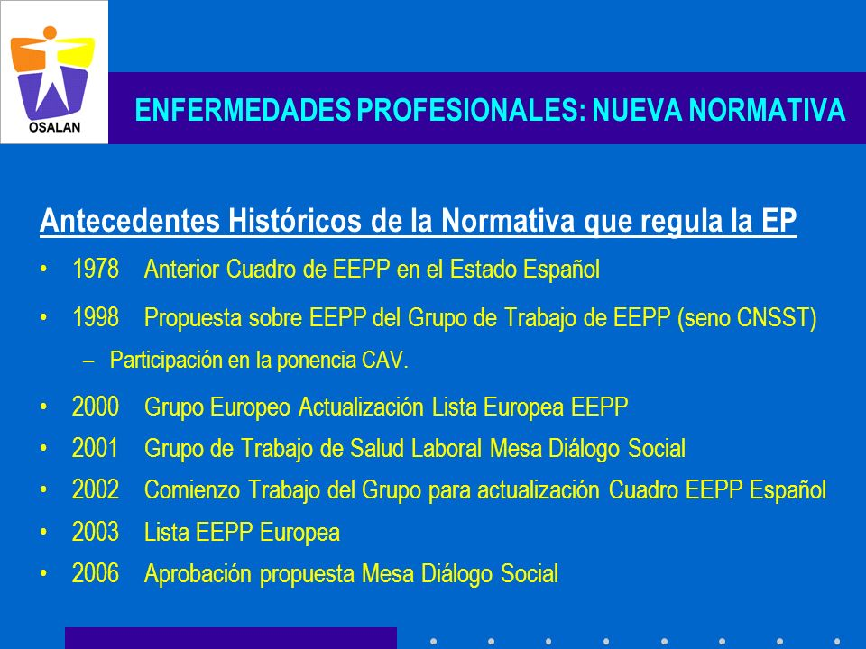 ENFERMEDADES PROFESIONALES: NUEVA NORMATIVA Antecedentes Históricos de la Normativa que regula la EP 1978 Anterior Cuadro de EEPP en el Estado Español