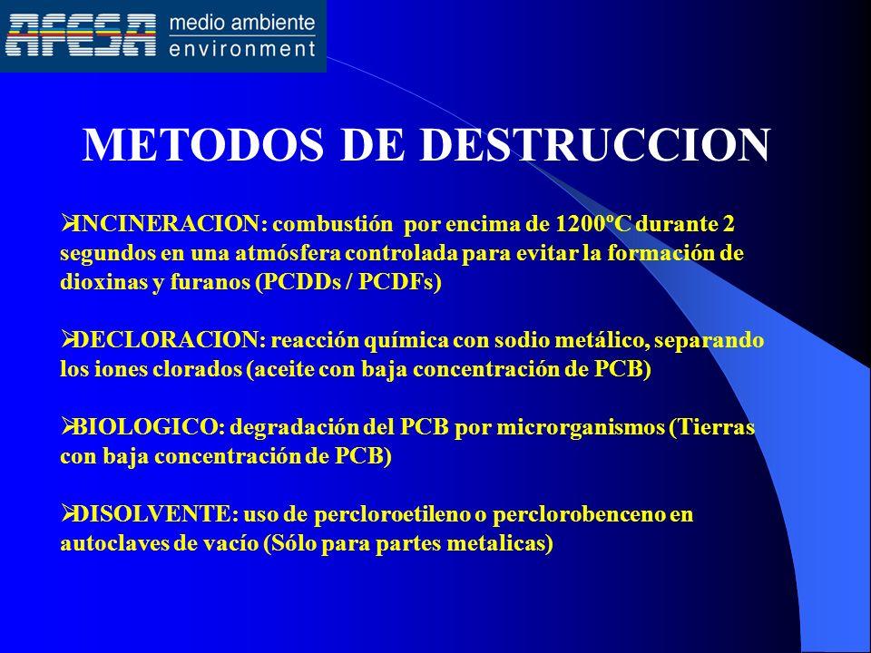 METODOS DE DESTRUCCION INCINERACION: combustión por encima de 1200ºC durante 2 segundos en una atmósfera controlada para evitar la formación de dioxin