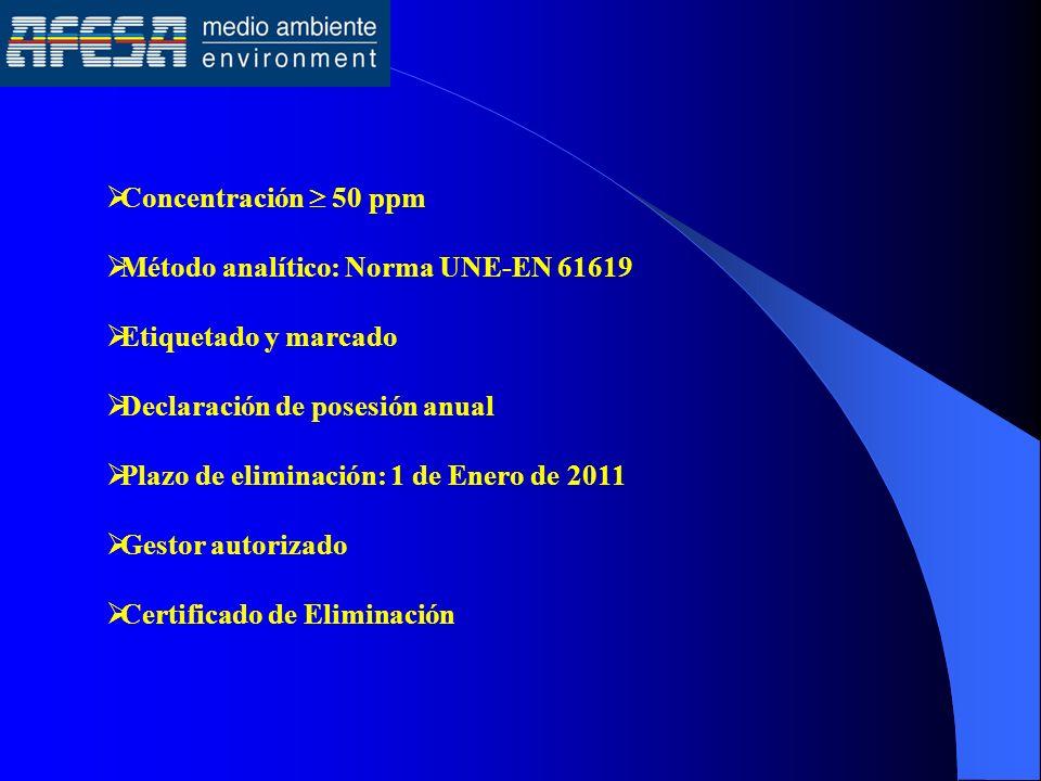 Concentración 50 ppm Método analítico: Norma UNE-EN 61619 Etiquetado y marcado Declaración de posesión anual Plazo de eliminación: 1 de Enero de 2011