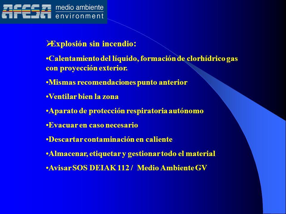 Explosión sin incendio : Calentamiento del líquido, formación de clorhídrico gas con proyección exterior. Mismas recomendaciones punto anterior Ventil