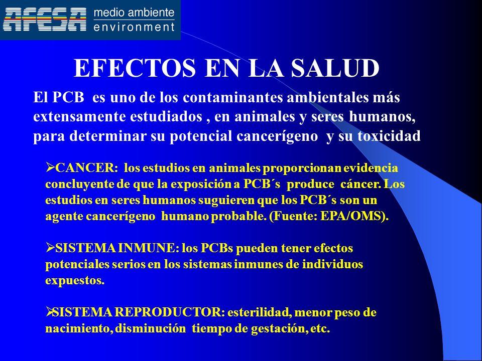 EFECTOS EN LA SALUD CANCER: los estudios en animales proporcionan evidencia concluyente de que la exposición a PCB´s produce cáncer. Los estudios en s