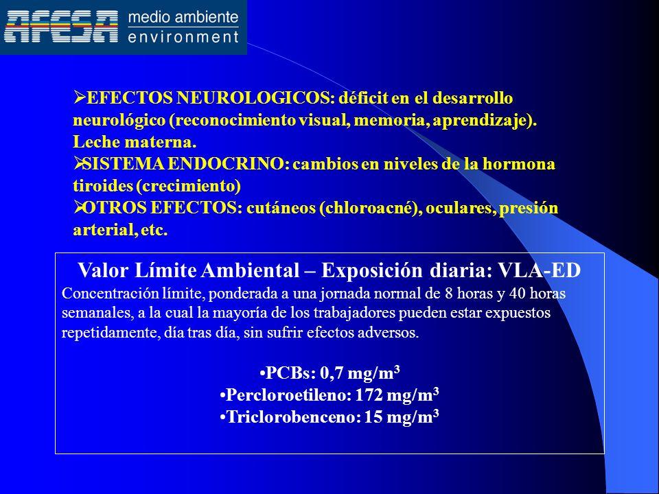 EFECTOS NEUROLOGICOS: déficit en el desarrollo neurológico (reconocimiento visual, memoria, aprendizaje). Leche materna. SISTEMA ENDOCRINO: cambios en