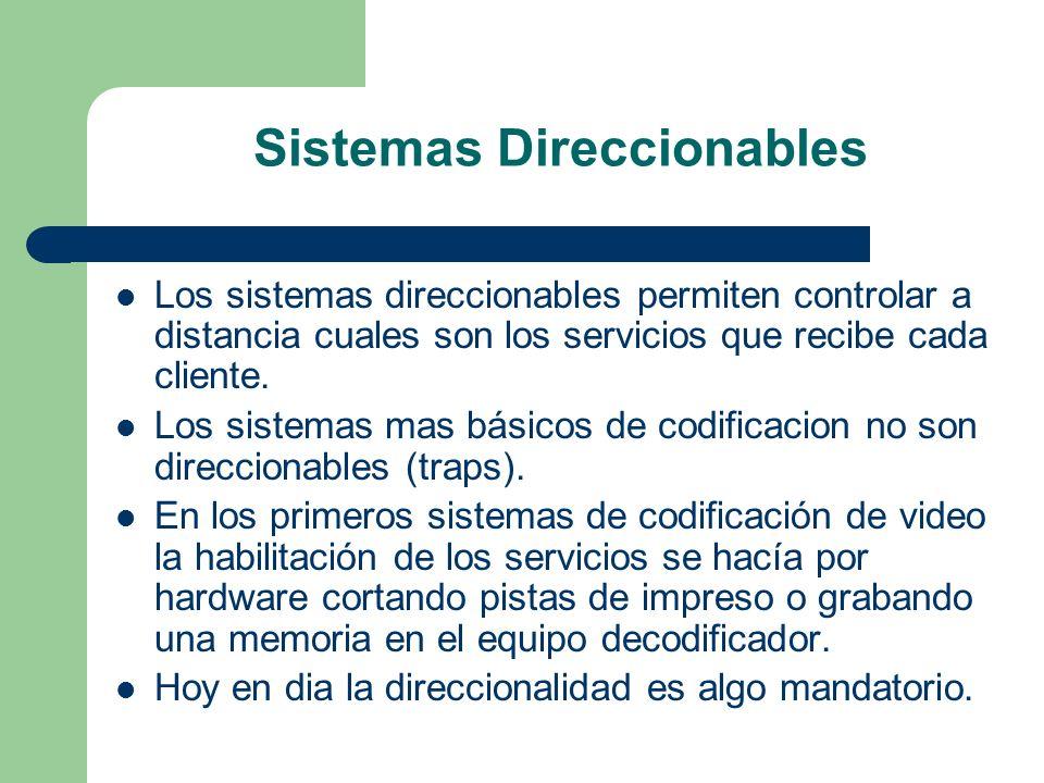 Sistemas Direccionables Los sistemas direccionables permiten controlar a distancia cuales son los servicios que recibe cada cliente. Los sistemas mas