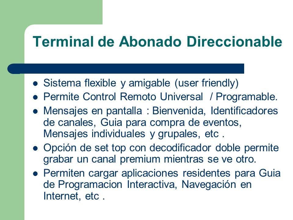 Terminal de Abonado Direccionable Sistema flexible y amigable (user friendly) Permite Control Remoto Universal / Programable. Mensajes en pantalla : B