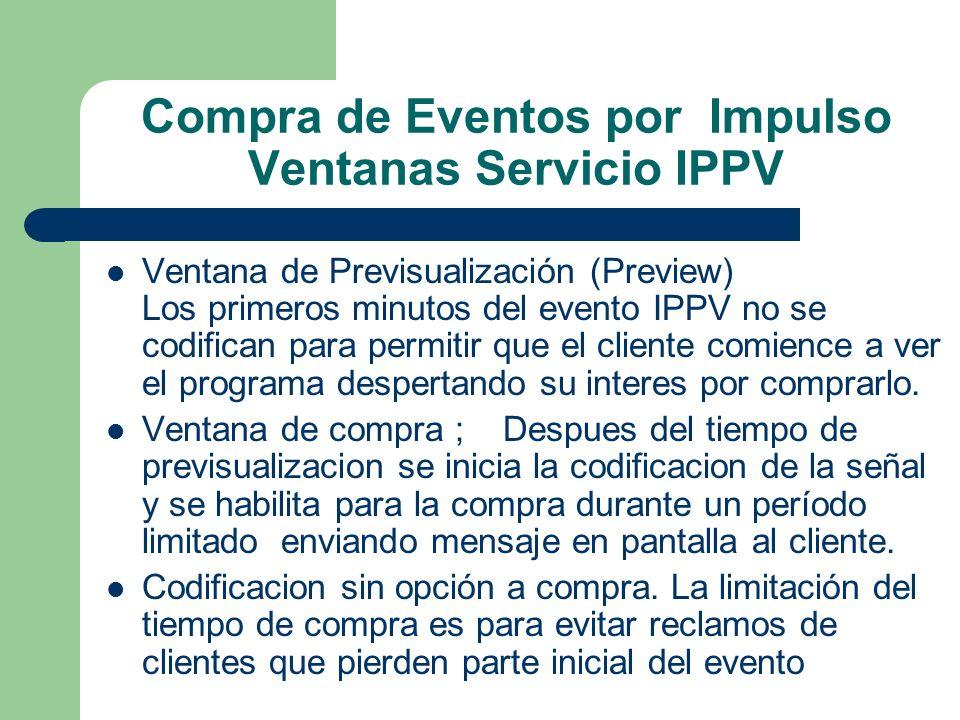 Compra de Eventos por Impulso Ventanas Servicio IPPV Ventana de Previsualización (Preview) Los primeros minutos del evento IPPV no se codifican para p