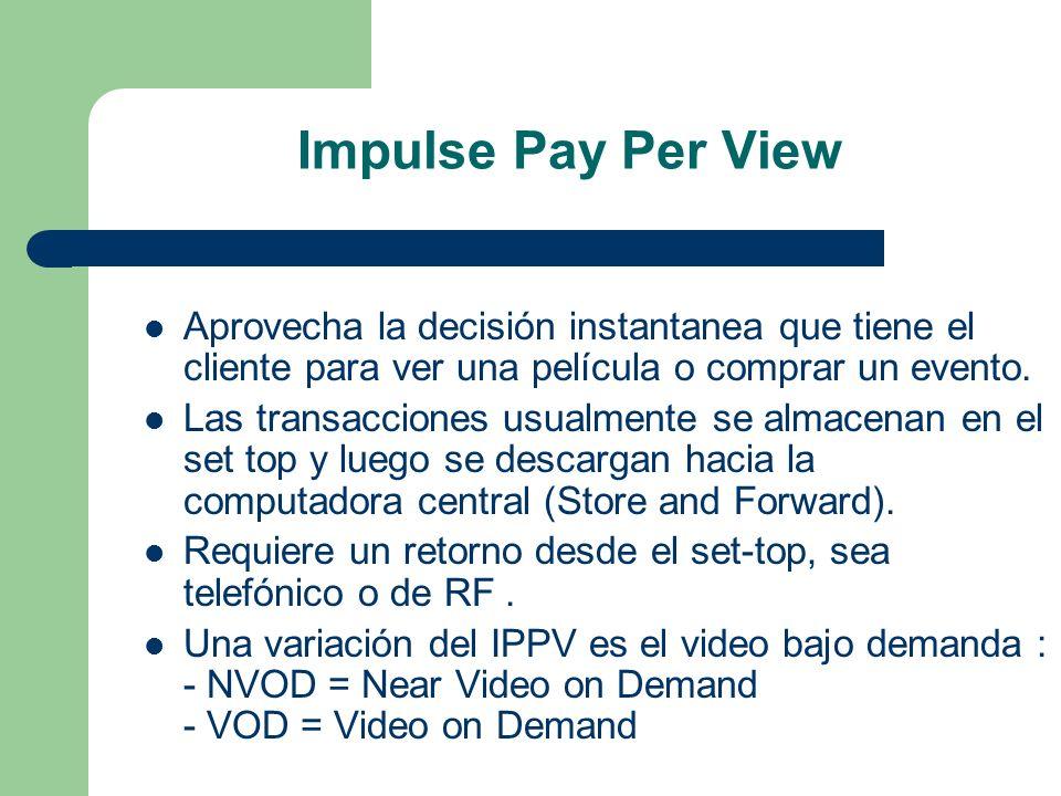 Impulse Pay Per View Aprovecha la decisión instantanea que tiene el cliente para ver una película o comprar un evento. Las transacciones usualmente se