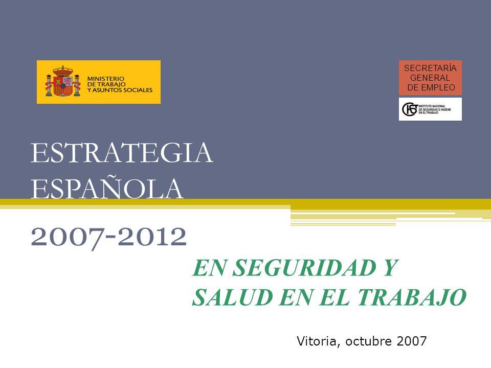 ESTRATEGIA ESPAÑOLA 2007-2012 SECRETARÍA GENERAL DE EMPLEO Vitoria, octubre 2007 EN SEGURIDAD Y SALUD EN EL TRABAJO
