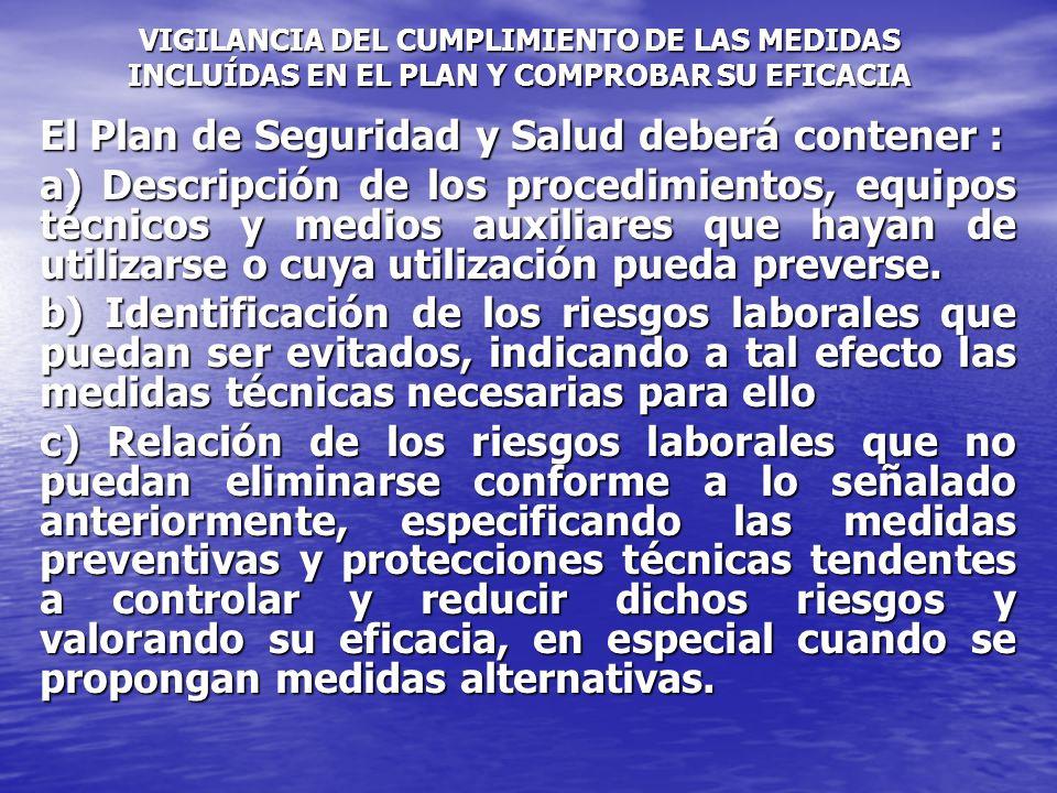 d) Las Medidas preventivas y normas de actuación,.