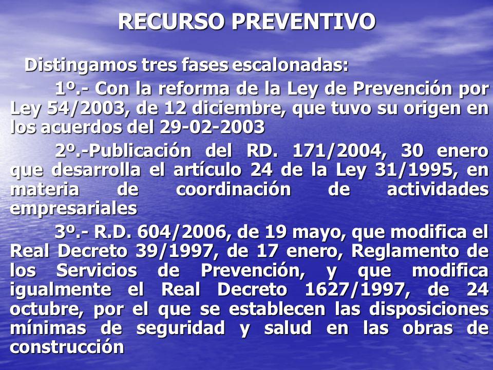 1º.- PERIODO: Comienza con la reforma de la Ley de Prevención citada por Ley 54/2003, de 12 diciembre, que tuvo su origen en los acuerdos del 29-02-2003, refrendados por el Pleno de la Comisión Nacional de Seguridad y Salud.