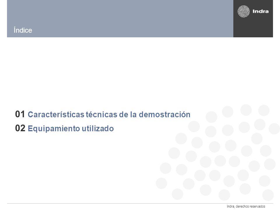 Indra, derechos reservados Características de la Demo DVB-T en Cartagena Andina Link 2008 Inicio: 26 – 28 FebreroFin: MUX Digital Transmisión de contenidos Definición Estándar 6 MHz Señal Colombia Demo DVB-T Canal 35 UHF Servicios interactivos Lanzadera Encuestas Portal Ciudadano Ticker de noticias RCN Caracol