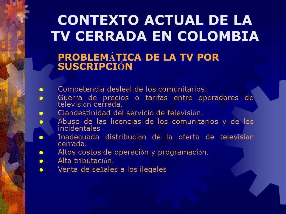 PROBLEM Á TICA DE LA TV POR SUSCRIPCI Ó N Competencia desleal de los comunitarios. Guerra de precios o tarifas entre operadores de televisi ó n cerrad