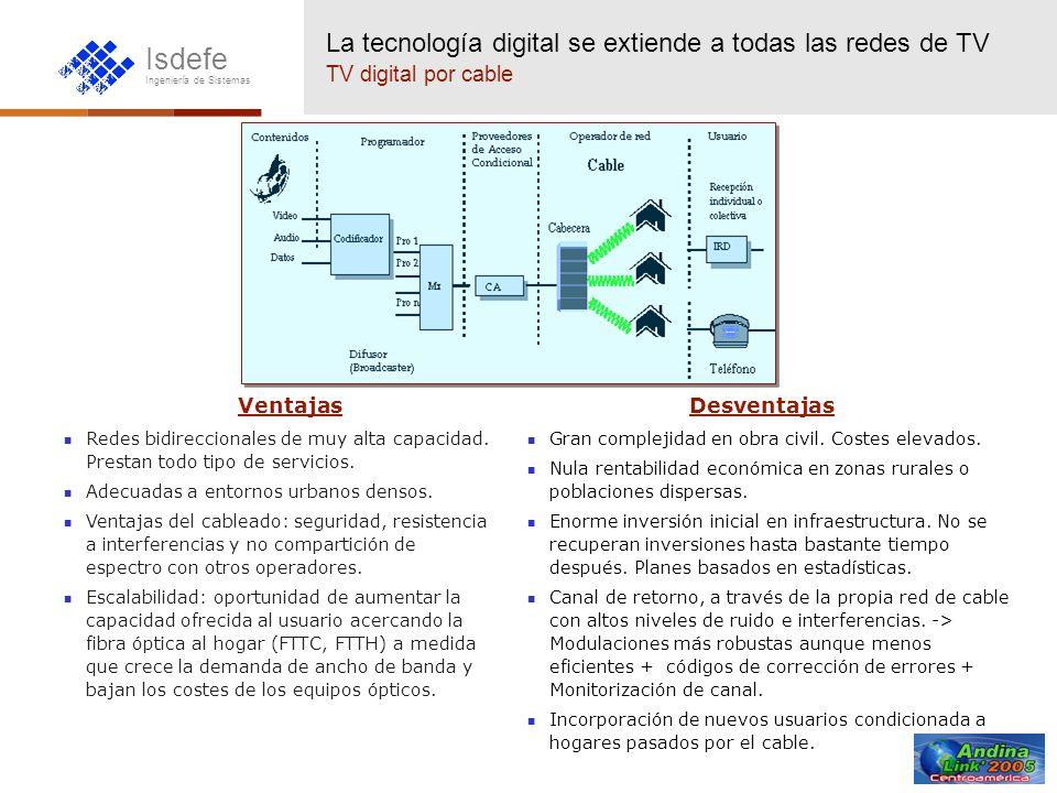Isdefe Ingeniería de Sistemas La tecnología digital se extiende a todas las redes de TV TV digital por cable Ventajas Redes bidireccionales de muy alt