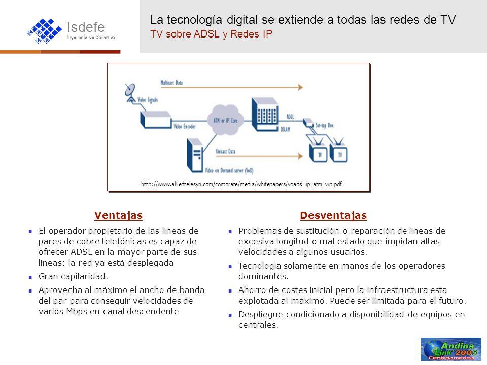 Isdefe Ingeniería de Sistemas http://www.alliedtelesyn.com/corporate/media/whitepapers/voadsl_ip_atm_wp.pdf La tecnología digital se extiende a todas
