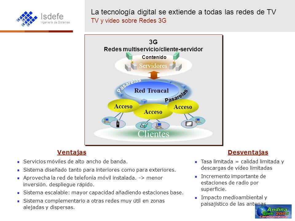Isdefe Ingeniería de Sistemas La tecnología digital se extiende a todas las redes de TV TV y video sobre Redes 3G Clientes Servidores Red Troncal Acce