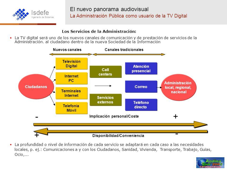 Isdefe Ingeniería de Sistemas Los Servicios de la Administración: La TV digital será uno de los nuevos canales de comunicación y de prestación de serv