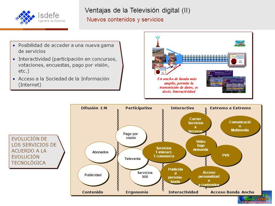 Isdefe Ingeniería de Sistemas REDANALÓGICADIGITAL SatéliteDBS (Canales satélite)DTH (Plataformas digitales) TerrestreVHF, UHF(Canales actuales) DTT DVB-T: Terminales fijos DVB-H: Terminales Portátiles CableOperadores actualesDCT (Inicio de servicio) MicroondasMMDS (TV sin hilos)LMDS (TV celular) Telefonía FijaTV-IP/ADSL Telefonía Móvil3G (UMTS-CDMA2000) La migración digital La tecnología digital se extiende a todas las redes de TV