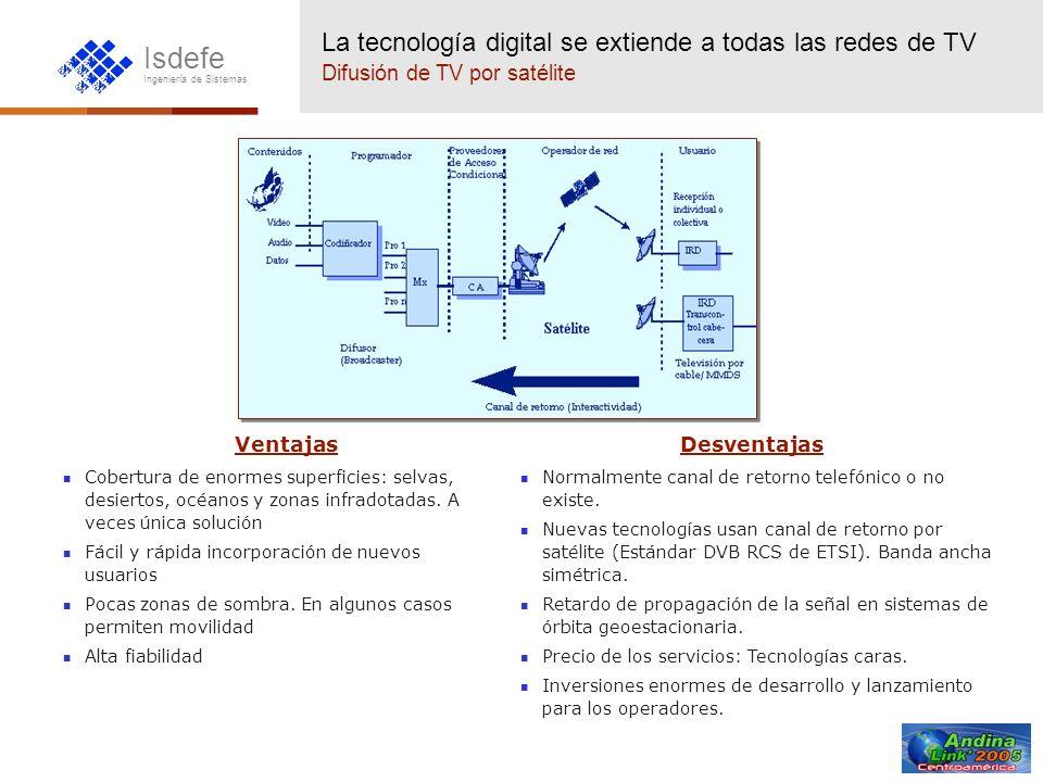 Isdefe Ingeniería de Sistemas La tecnología digital se extiende a todas las redes de TV TV digital terrestre Ventajas Aprovecha infraestructura TV convencional para proporcionar múltiples canales de televisión a través de la misma antena de usuario.