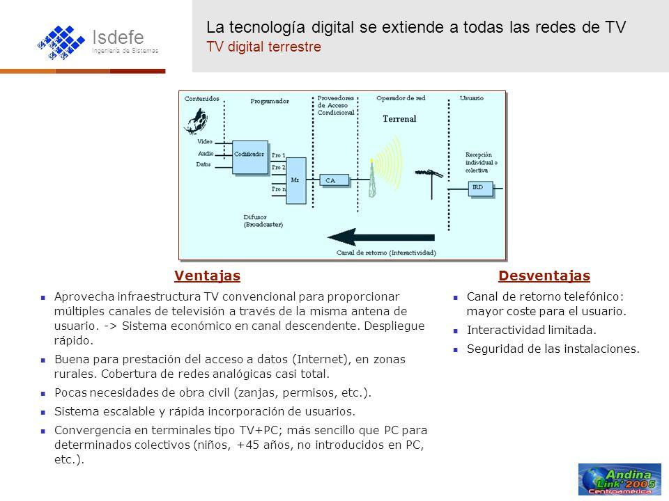 Isdefe Ingeniería de Sistemas La tecnología digital se extiende a todas las redes de TV TV digital por cable Ventajas Redes bidireccionales de muy alta capacidad.