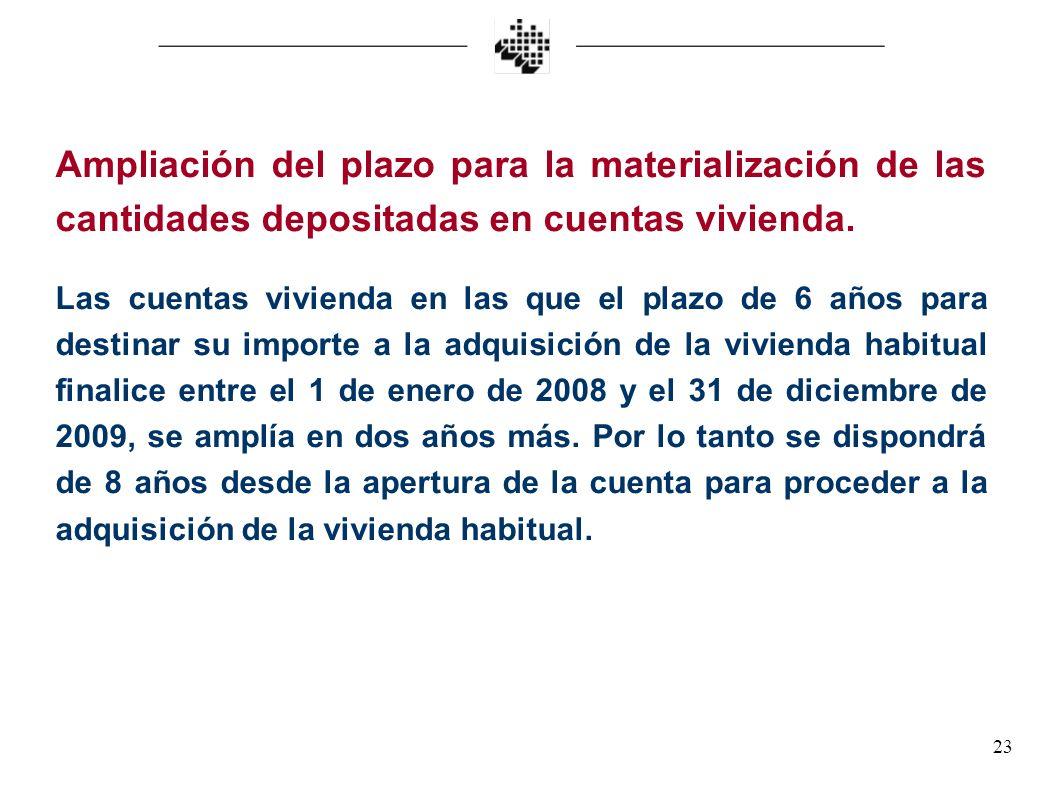 23 Ampliación del plazo para la materialización de las cantidades depositadas en cuentas vivienda. Las cuentas vivienda en las que el plazo de 6 años