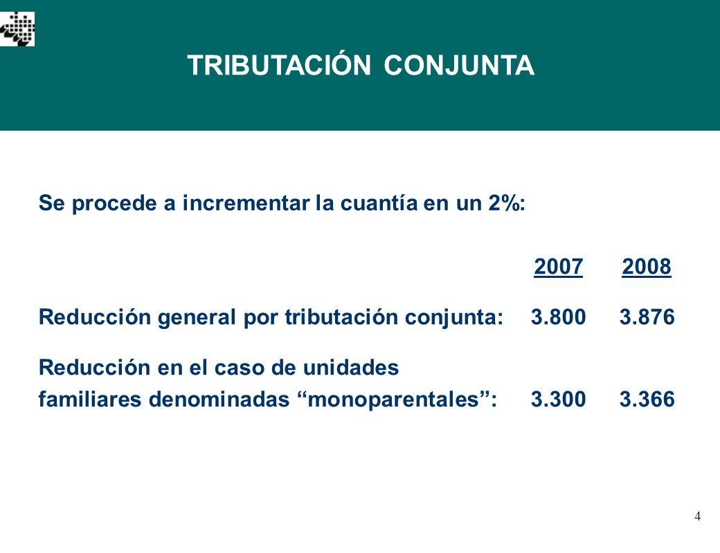 4 TRIBUTACIÓN CONJUNTA Se procede a incrementar la cuantía en un 2%: 20072008 Reducción general por tributación conjunta:3.8003.876 Reducción en el ca