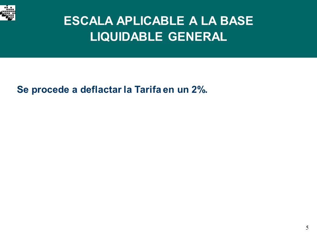 5 ESCALA APLICABLE A LA BASE LIQUIDABLE GENERAL Se procede a deflactar la Tarifa en un 2%.