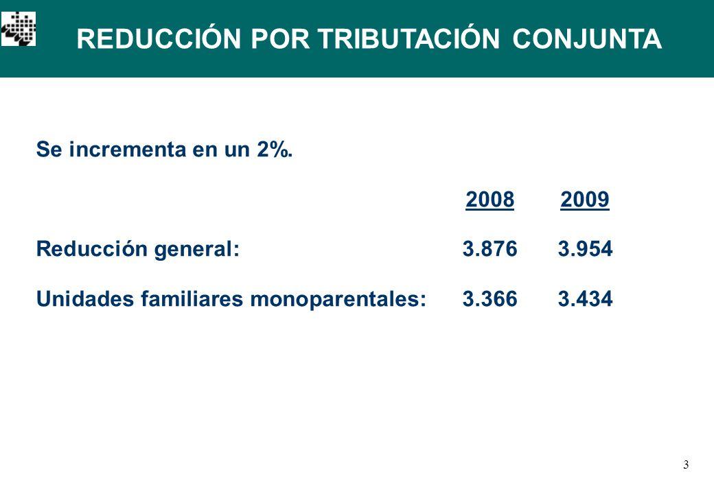 3 REDUCCIÓN POR TRIBUTACIÓN CONJUNTA Se incrementa en un 2%.