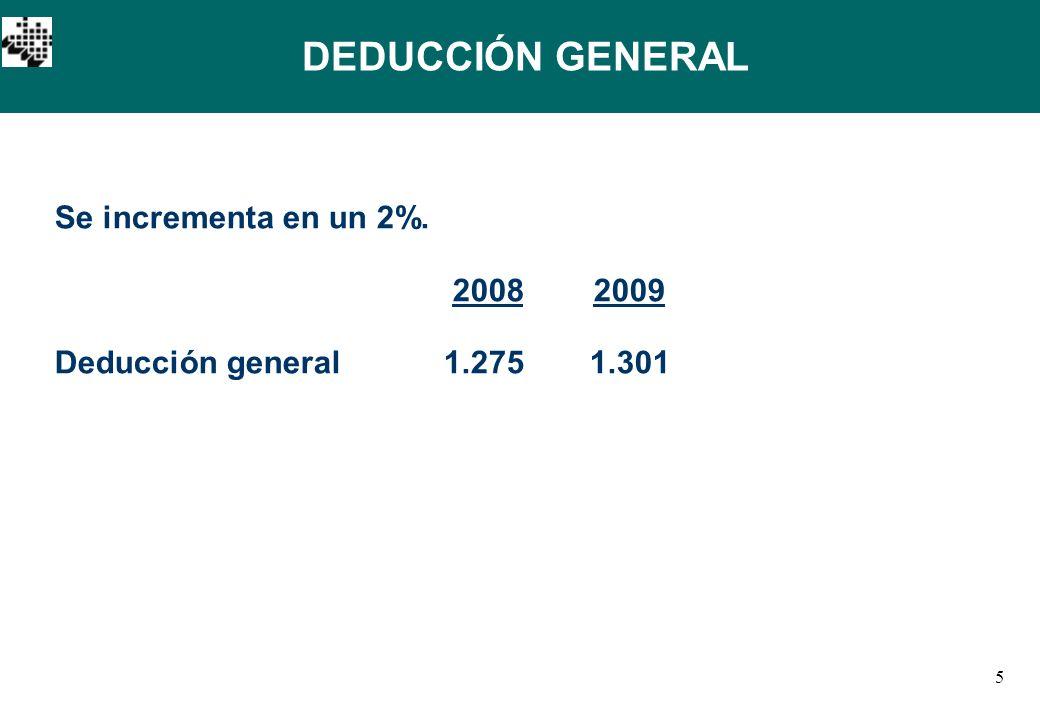5 Se incrementa en un 2%. 20082009 Deducción general1.2751.301 DEDUCCIÓN GENERAL
