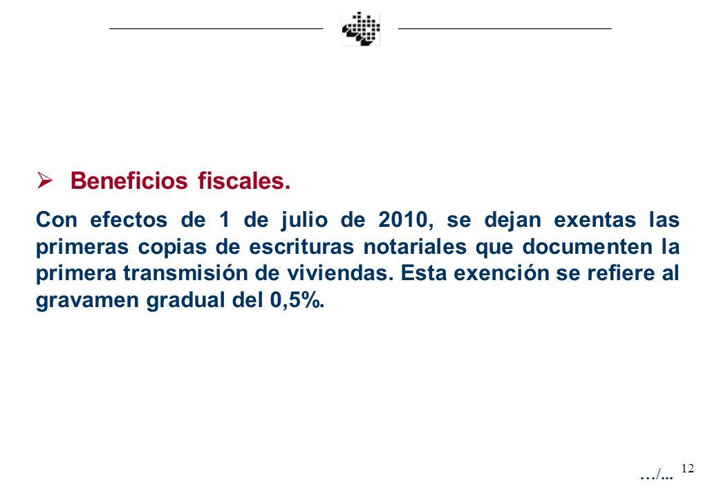 12 Beneficios fiscales. Con efectos de 1 de julio de 2010, se dejan exentas las primeras copias de escrituras notariales que documenten la primera tra