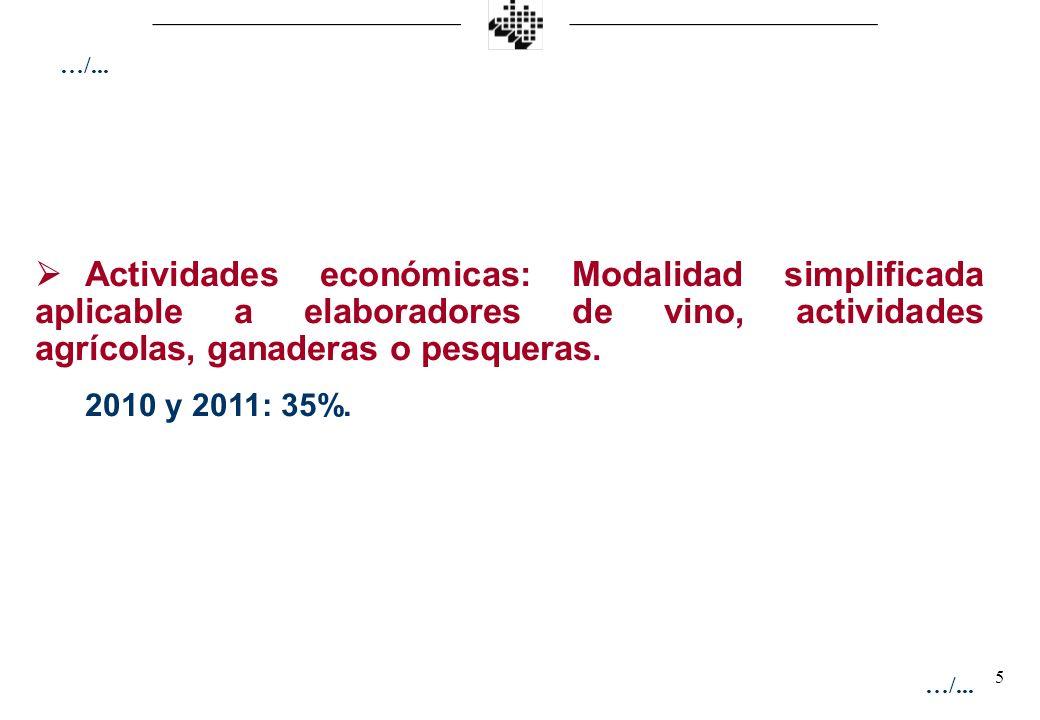 5 Actividades económicas: Modalidad simplificada aplicable a elaboradores de vino, actividades agrícolas, ganaderas o pesqueras. 2010 y 2011: 35%. …/.