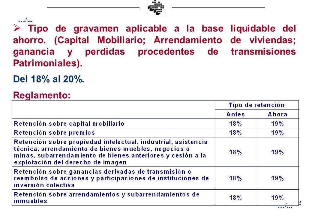 6 Tipo de gravamen aplicable a la base liquidable del ahorro. (Capital Mobiliario; Arrendamiento de viviendas; ganancia y perdidas procedentes de tran
