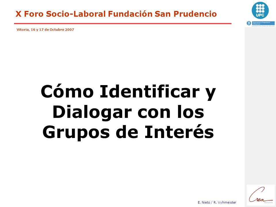 X Foro Socio-Laboral Fundación San Prudencio Vitoria, 16 y 17 de Octubre 2007 E. Nieto / R. Vyhmeister Cómo Identificar y Dialogar con los Grupos de I