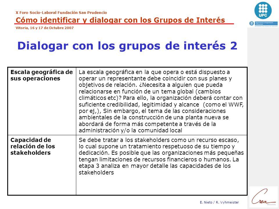 X Foro Socio-Laboral Fundación San Prudencio Cómo identificar y dialogar con los Grupos de Interés Vitoria, 16 y 17 de Octubre 2007 E. Nieto / R. Vyhm