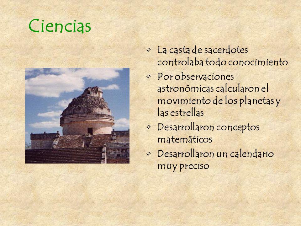 Arquitectura Se construyeron templos cada vez más grandes para honrar a los dioses Se construyó el nuevo templo encima del viejo Se construyeron palac