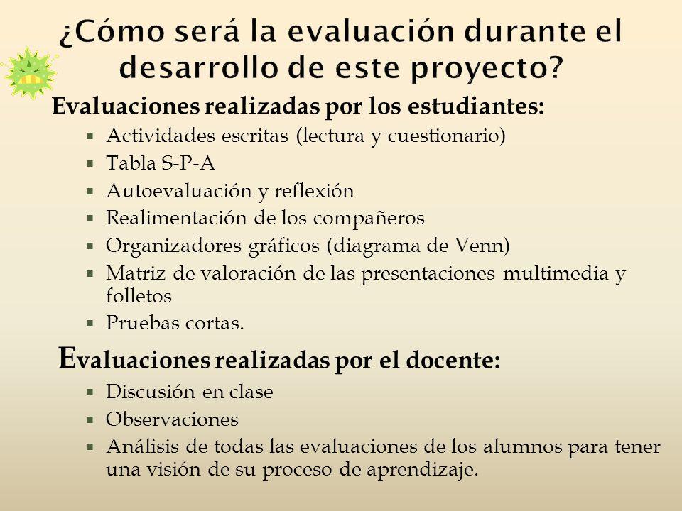 Evaluaciones realizadas por los estudiantes: Actividades escritas (lectura y cuestionario) Tabla S-P-A Autoevaluación y reflexión Realimentación de lo