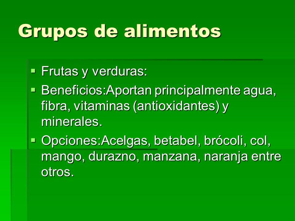 Grupos de alimentos Alimentos de origen animal: Alimentos de origen animal: Beneficios: Aportan principalmente proteínas y grasa.