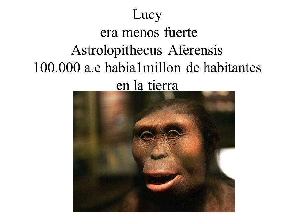 Lucy era menos fuerte Astrolopithecus Aferensis 100.000 a.c habia1millon de habitantes en la tierra