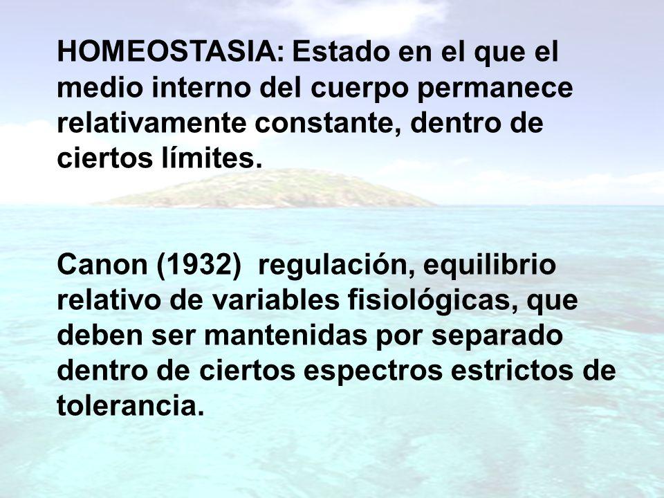 HOMEOSTASIA: Estado en el que el medio interno del cuerpo permanece relativamente constante, dentro de ciertos límites. Canon (1932) regulación, equil