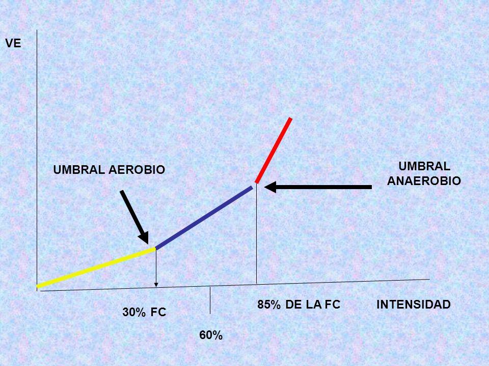 UMBRAL ANAEROBIO UMBRAL AEROBIO 85% DE LA FC 30% FC INTENSIDAD VE 60%