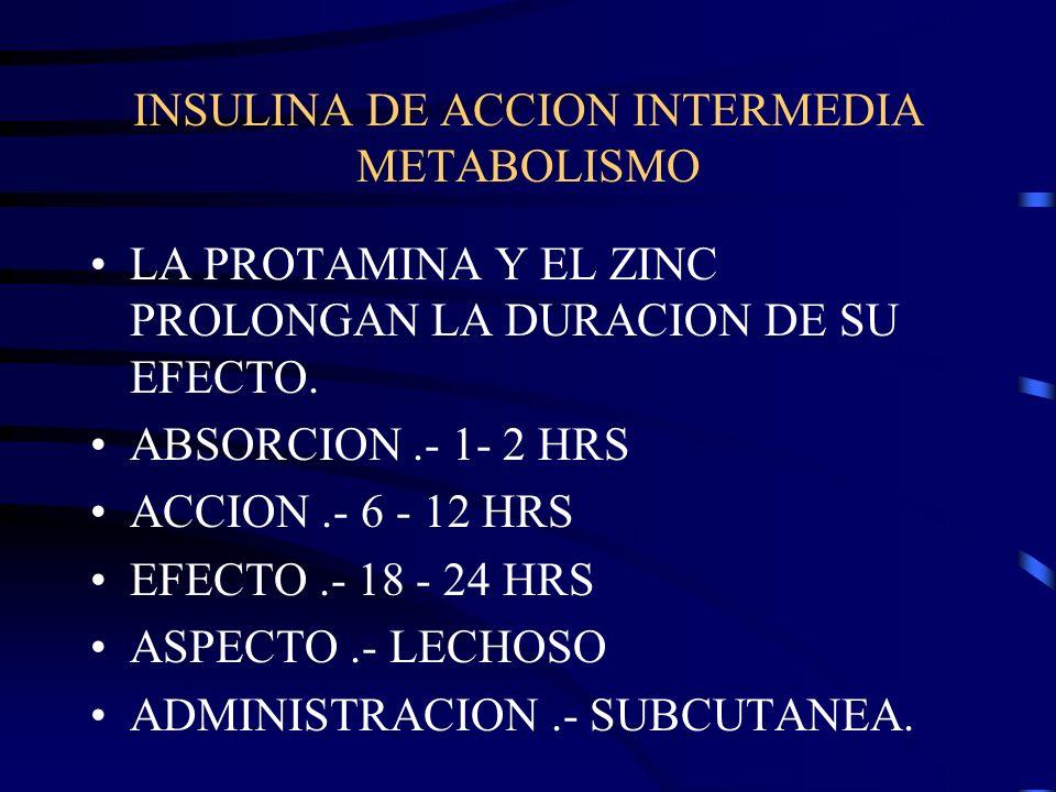 INSULINA DE ACCION INTERMEDIA INSULINA NPH ( NEUTRAL PROTAMINA OF HAGEDORN ) INSULINA LENTA.- ( L ) TIENE UNA ALTA PROPORCION DE ZINC.