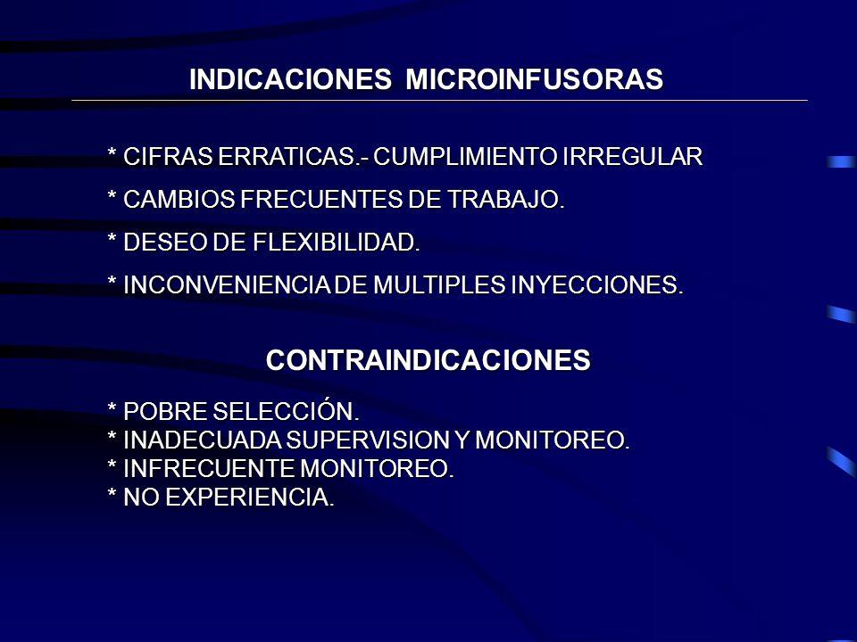 INFUSION CONTINUA DE INSULINA DIABETES TIPO 1 * REVIERTE HIPOGLUCEMIA INADVERTIDA. * SOPORTE PARA CRECIMIENTO EN NIÑOS Y ADOLESCENTES * MEJORA GASTROP