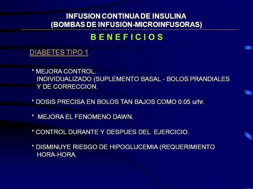INDICACIONES MICROINFUSORAS * CIFRAS ERRATICAS.- CUMPLIMIENTO IRREGULAR * CAMBIOS FRECUENTES DE TRABAJO. * DESEO DE FLEXIBILIDAD. * INCONVENIENCIA DE