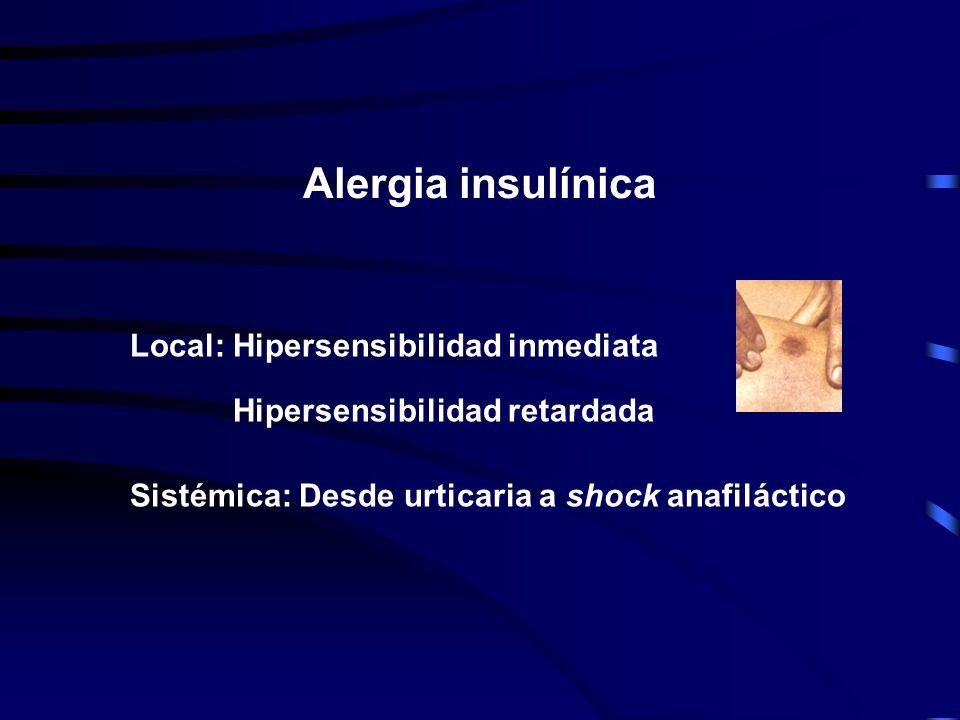 Inmunológicas Alergia insulínica -Local -Sistémica Lipodistrofia atrófica Resistencia insulínica (IgG) No inmunológicas Hipoglucemia Aumento de peso A