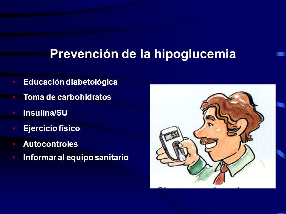 Alimentos para el tratamiento de la hipoglucemia 10 g de carbohidratos, en: 150 ml zumo natural 2.5 cucharaditas de azúcar 2 comprimidos de glucosa pu