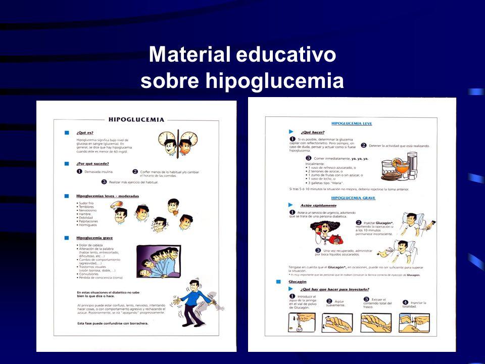 ¿Qué debe saber el paciente sobre hipoglucemias? Síntomas de alerta Causas de hipoglucemias Llevar carbohidratos y estar identificado Valoración de la