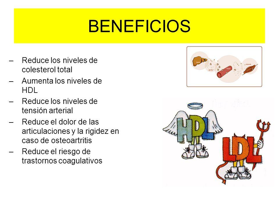 BENEFICIOS –Reduce los niveles de colesterol total –Aumenta los niveles de HDL –Reduce los niveles de tensión arterial –Reduce el dolor de las articul