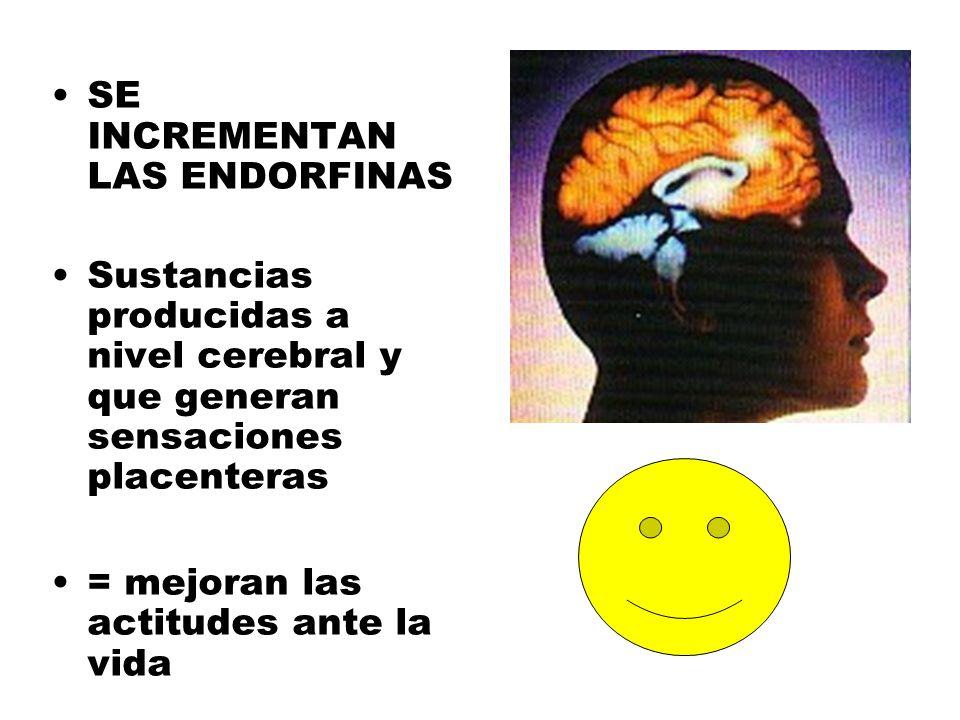 SE INCREMENTAN LAS ENDORFINAS Sustancias producidas a nivel cerebral y que generan sensaciones placenteras = mejoran las actitudes ante la vida