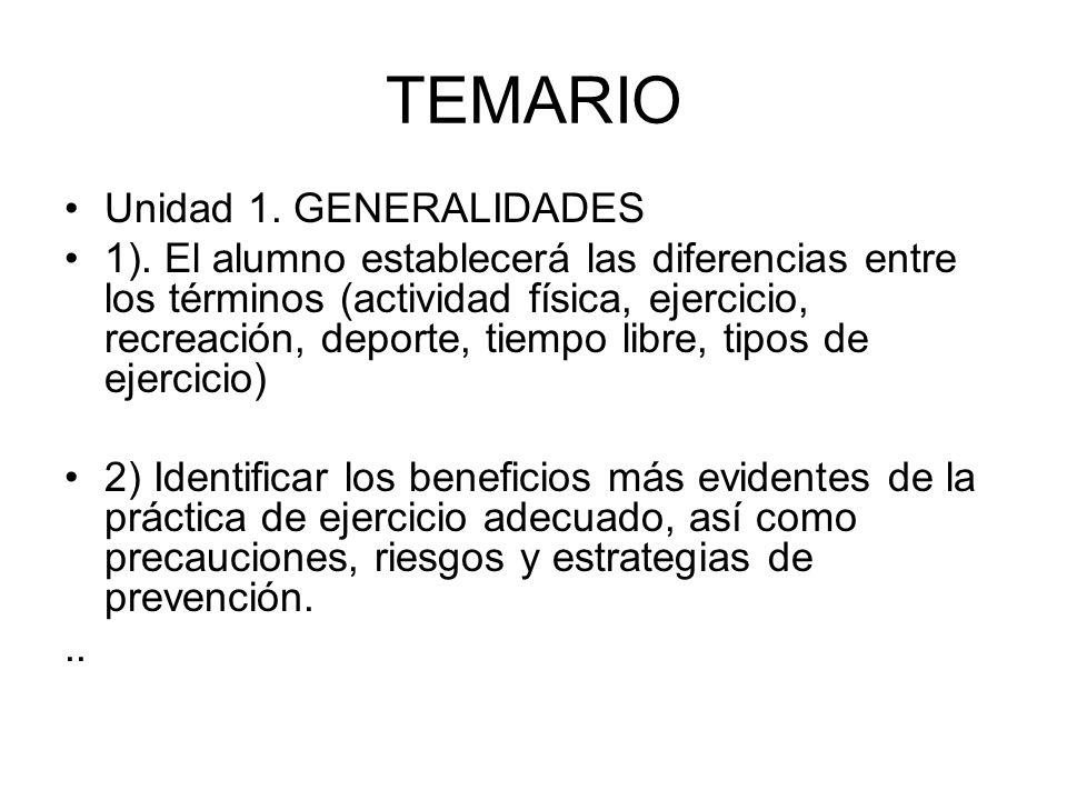 TEMARIO Unidad 1. GENERALIDADES 1). El alumno establecerá las diferencias entre los términos (actividad física, ejercicio, recreación, deporte, tiempo