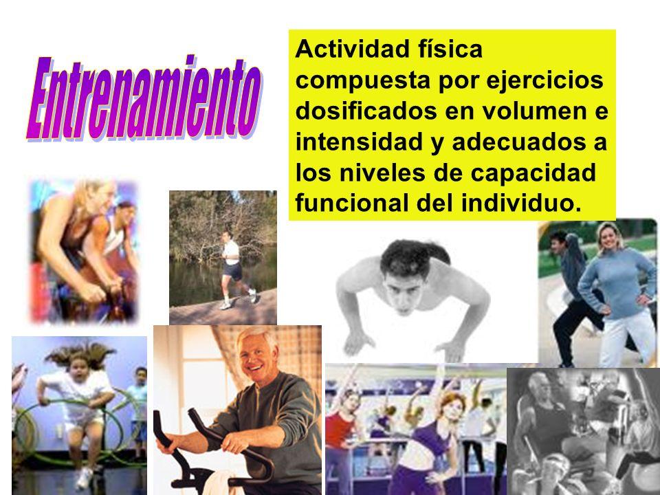Actividad física compuesta por ejercicios dosificados en volumen e intensidad y adecuados a los niveles de capacidad funcional del individuo.