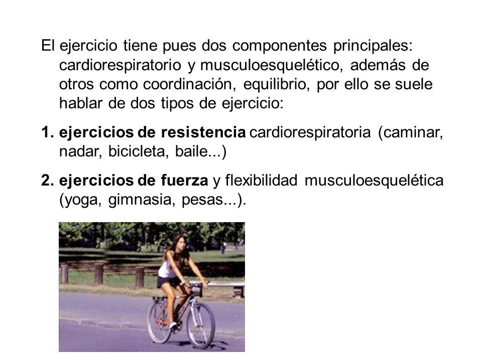 El ejercicio tiene pues dos componentes principales: cardiorespiratorio y musculoesquelético, además de otros como coordinación, equilibrio, por ello
