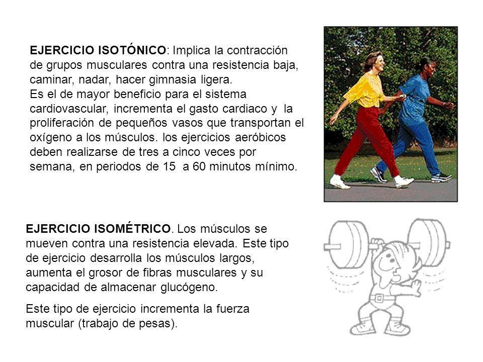 EJERCICIO ISOTÓNICO: Implica la contracción de grupos musculares contra una resistencia baja, caminar, nadar, hacer gimnasia ligera. Es el de mayor be